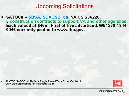 BUILDING STRONG ® Upcoming Solicitations  SATOCs – SBSA, SDVOSB, 8a, NAICS 236220, 5 construction contracts to support VA and other agencies. Each valued.