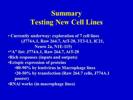 "Summary Testing New Cell Lines Currently underway: exploration of 7 cell lines (J774A.1, Raw 264.7, AtT-20, 3T3-L1, IC21, Neuro 2a, N1E-115) ""A"" list:"