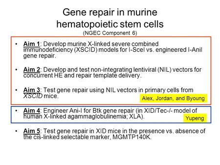Gene repair in murine hematopoietic stem cells (NGEC Component 6) Aim 1: Develop murine X-linked severe combined immunodeficiency (XSCID) models for I-SceI.