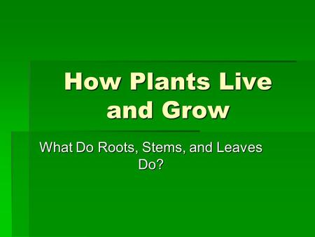 How Plants Live and Grow What Do Roots, Stems, and Leaves Do?