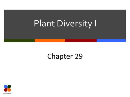 Plant Diversity I Chapter 29. Slide 2 of 18 Evolution  Land plants descended from Chlorophyta  Green Algae  Specifically Charophyta  Plant-like Protists.