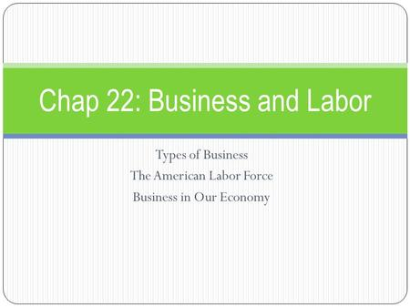 Types of Business The American Labor Force Business in Our Economy Chap 22: Business and Labor.