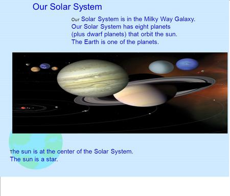 Our Solar System is in the Milky Way Galaxy. Our Solar System has eight planets (plus dwarf planets) that orbit the sun. The Earth is one of the planets.