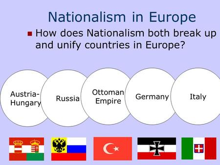 Nationalism in Europe How does Nationalism both break up and unify countries in Europe? Austria- Hungary Russia Ottoman Empire GermanyItaly.
