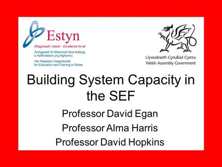 Building System Capacity in the SEF Professor David Egan Professor Alma Harris Professor David Hopkins.