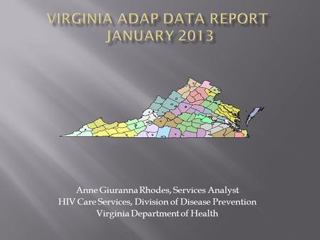 Anne Giuranna Rhodes, Services Analyst HIV Care Services, Division of Disease Prevention Virginia Department of Health.