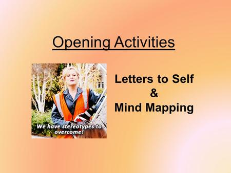 Opening Activities Letters to Self & Mind Mapping.
