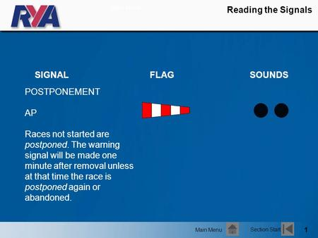 1 Reading the Signals POSTPONEMENT AP Races not started are postponed. The warning signal will be made one minute after removal unless at that time the.