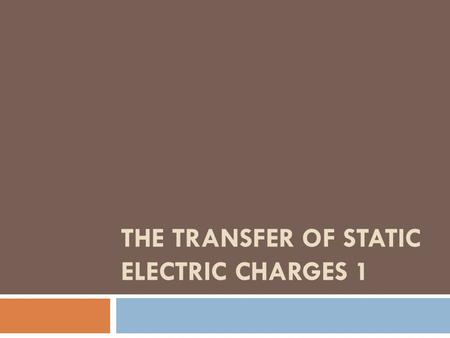 THE TRANSFER OF STATIC ELECTRIC CHARGES 1. Charged Objects  The study of static electric charges is called electrostatics.  An electroscope is an instrument.