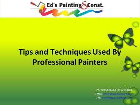 Tips and Techniques Used By Professional Painters Ph. 201 582 6663, 8452133188   URL: