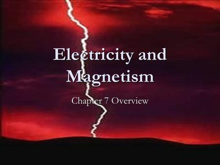 Electricity and Magnetism Chapter 7 Overview. Electricity Charge of proton Positive Charge of proton Positive Charge of electron Negative Charge of electron.
