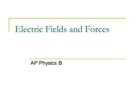 "Electric Fields and Forces AP Physics B. Electric Charge ""Charge"" is a property of subatomic particles. Facts about charge:"