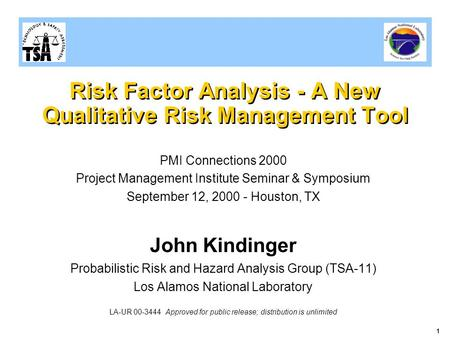 1 Risk Factor Analysis - A New Qualitative Risk Management Tool PMI Connections 2000 Project Management Institute Seminar & Symposium September 12, 2000.