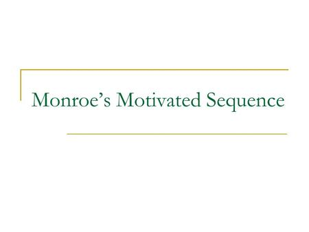Monroe's Motivated Sequence. 1._______ Step:  Get the audience's attention.  Use a _______ story, shocking example, dramatic _______, quote, etc. 