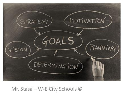 Goal Setting Mr. Stasa – W-E City Schools ©. TYPES OF GOALS  Examples of financial goals:  Going to college  Buying a house  Buying a car  Getting.