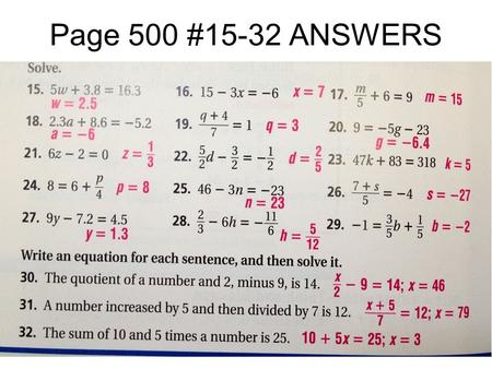 Page 500 #15-32 ANSWERS. Pre-Algebra 10-2 Solving Multistep Equations Student Progress Chart Lesson Reflection.