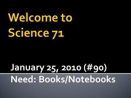 January 25, 2010 (#90) Need: Books/Notebooks.  Continue to Build a better understanding of Electric and Magnetic Field behaviors  Connection between.