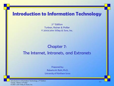 Introduction to Information Technology, 2 nd Edition Turban, Rainer & Potter © 2003 John Wiley & Sons, Inc. 7-1 Introduction to Information Technology.