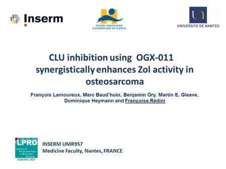 CLU inhibition using OGX-011 synergistically enhances Zol activity in osteosarcoma François Lamoureux, Marc Baud'huin, Benjamin Ory, Martin E. Gleave,