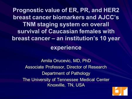 Prognostic value of ER, PR, and HER2 breast cancer biomarkers and AJCC's TNM staging system on overall survival of Caucasian females with breast cancer.