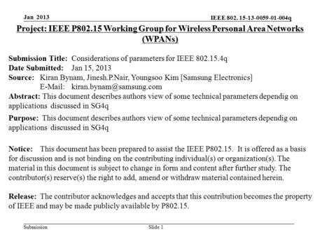 IEEE 802. 15-13-0059-01-004q Submission Slide 1 Project: IEEE P802.15 Working Group for Wireless Personal Area Networks (WPANs) Submission Title:Considerations.