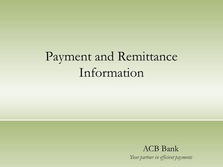 Payment and Remittance Information ACB Bank Your partner in efficient payments.