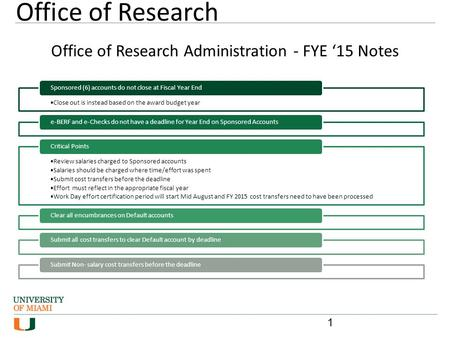 Office of Research Administration - FYE '15 Notes Close out is instead based on the award budget year Sponsored (6) accounts do not close at Fiscal Year.