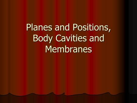 Planes and Positions, Body Cavities and Membranes.