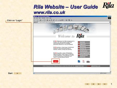 "1 Click on ""Login"" Start Rila Website – User Guide www.rila.co.uk."