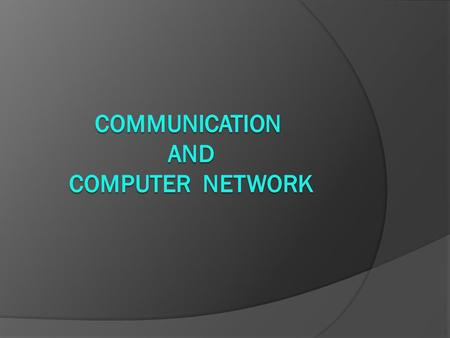 Computer network  A network consists of multiple computers connected to each other to share data and resources.