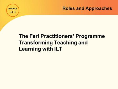 The Ferl Practitioners' Programme Transforming Teaching and Learning with ILT J4.3 Roles and Approaches.
