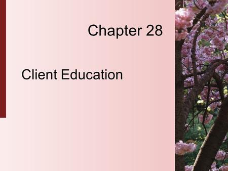 Chapter 28 Client Education. 28-2 Copyright 2004 by Delmar Learning, a division of Thomson Learning, Inc. The Teaching-Learning Process  A planned interaction.