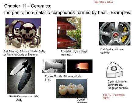 Inorganic, non-metallic compounds formed by heat. Examples: