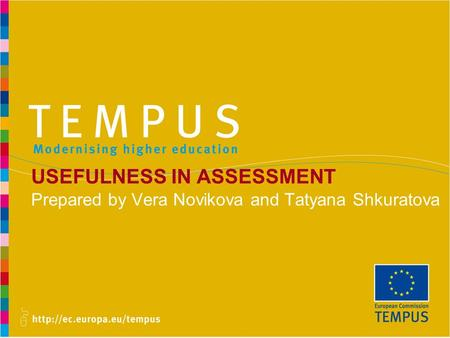 USEFULNESS IN ASSESSMENT Prepared by Vera Novikova and Tatyana Shkuratova.