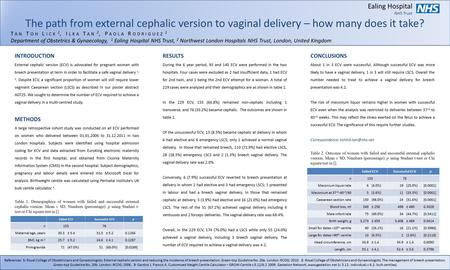 Ealing Hospital NHS Trust The path from external cephalic version to vaginal delivery – how many does it take? T AN T OH L ICK 1, I LKA T AN 2, P AOLA.