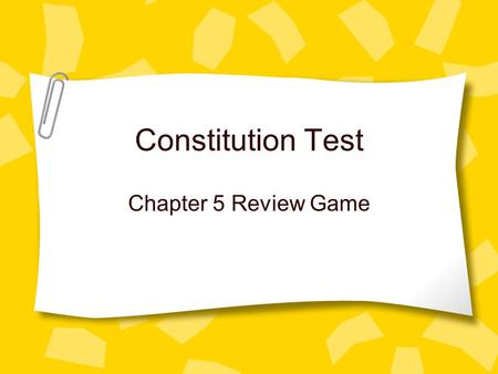 Constitution Test Chapter 5 Review Game. Federal system This system shares power between the federal/national government and the states' governments.