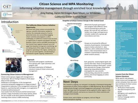 Next Steps This research is ongoing; our end goal is to develop a framework that guides involvement of citizen science programs in MPA Monitoring. We are.