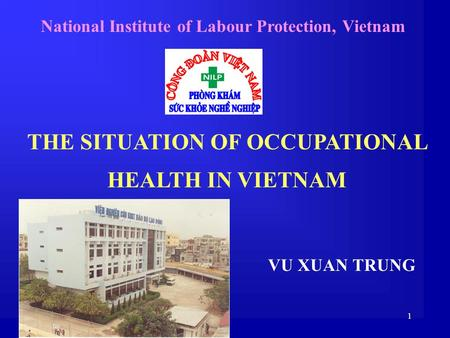 1 THE SITUATION OF OCCUPATIONAL HEALTH IN VIETNAM National Institute of Labour Protection, Vietnam VU XUAN TRUNG.