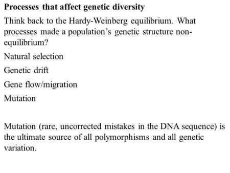 Factors in Genetic Diversity