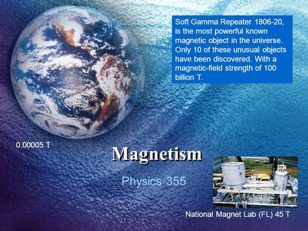 Magnetism Physics 355 0.00005 T Soft Gamma Repeater 1806-20, is the most powerful known magnetic object in the universe. Only 10 of these unusual objects.