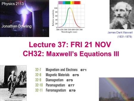 Lecture 37: FRI 21 NOV CH32: Maxwell's Equations III James Clerk Maxwell (1831-1879) Physics 2113 Jonathan Dowling.
