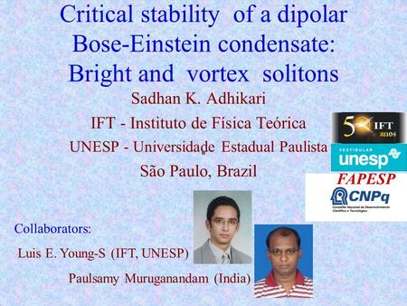 Critical stability of a dipolar Bose-Einstein condensate: Bright and vortex solitons Sadhan K. Adhikari IFT - Instituto de Física Teórica UNESP - Universidade.