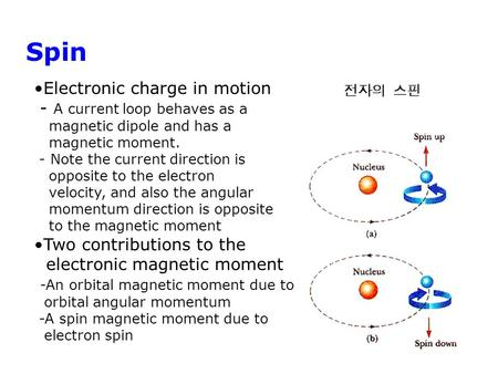 Spin Electronic charge in motion - A current loop behaves as a magnetic dipole and has a magnetic moment. - Note the current direction is opposite to the.