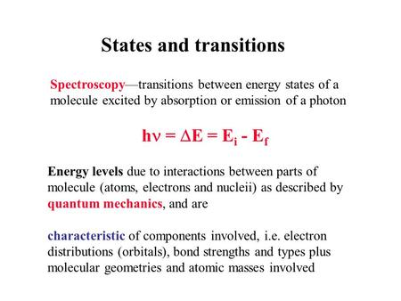 States and transitions Spectroscopy—transitions between energy states of a molecule excited by absorption or emission of a photon h =  E = E i - E f Energy.