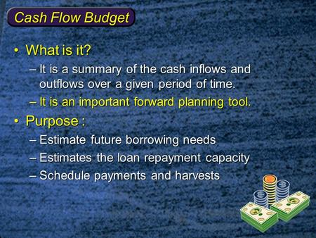 Cash Flow Budget What is it?What is it? –It is a summary of the cash inflows and outflows over a given period of time. –It is an important forward planning.