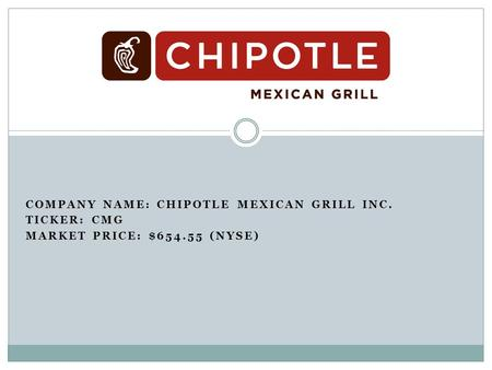 COMPANY NAME: CHIPOTLE MEXICAN GRILL INC. TICKER: CMG MARKET PRICE: $654.55 (NYSE)