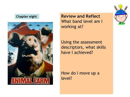 Chapter eight Review and Reflect What band level am I working at? Using the assessment descriptors, what skills have I achieved? How do I move up a level?