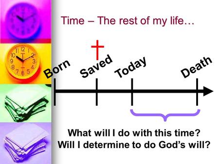 Time – The rest of my life… Born Saved Today Death What will I do with this time? Will I determine to do God's will?