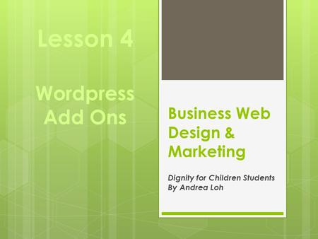 Business Web Design & Marketing Dignity for Children Students By Andrea Loh Lesson 4 Wordpress Add Ons.