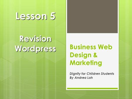 Business Web Design & Marketing Dignity for Children Students By Andrea Loh Lesson 5 Revision Wordpress.